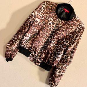 GUESS | Leopard Print Satin Bomber Jacket Gold Zip